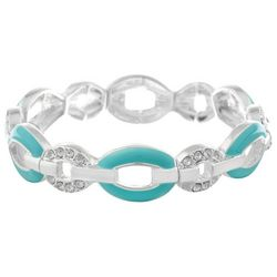 Gloria Vanderbilt Green & Rhinestone Oval Stretch Bracelet