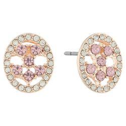Gloria Vanderbilt Clear & Pink Oval Post Back Earrings