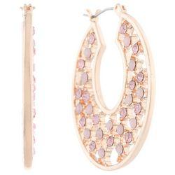 Gloria Vanderbilt Rhinestones Rose Gold Tone Hoop Earrings