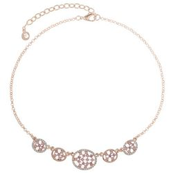 Gloria Vanderbilt Rose Gold Tone Rhinestone Necklace
