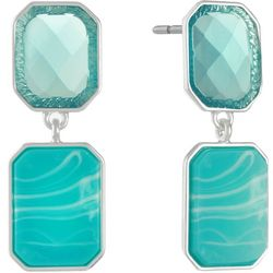 Gloria Vanderbilt Green Rectangle Dangle Earrings