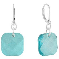 Gloria Vanderbilt Green Square Dangle Earrings