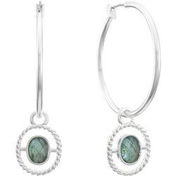 Gloria Vanderbilt Multi-Faceted Stone Hoop Earrings