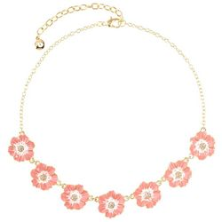 Gloria Vanderbilt Coral Pink Flowers Gold Tone Necklace