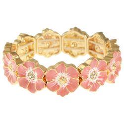 Gloria Vanderbilt Coral Pink Flower Stretch Bracelet