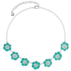 Gloria Vanderbilt Green Flowers Silver Tone Necklace