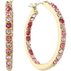 Gloria Vanderbilt Pink Rhinestones Gold Tone Hoop Earrings