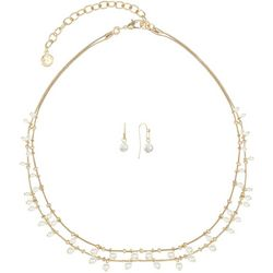 Gloria Vanderbilt Faux Pearls Gold Tone Necklace Set