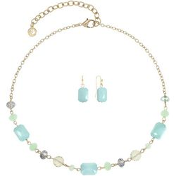 Gloria Vanderbilt Blue Multi Beads Gold Tone Necklace Set