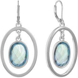Gloria Vanderbilt Blue Stone & Oval Hoop Leverback Earrings