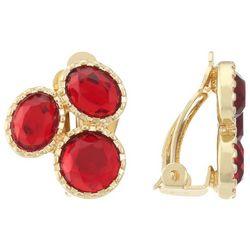 Gloria Vanderbilt Gold Tone Siam Triple Clip On Earrings