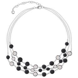 Gloria Vanderbilt 3 Row Silver Tone Faceted Shimmer Necklace