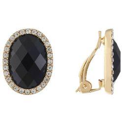 Gloria Vanderbilt Black Rhinestone Oval Clip On Earrings