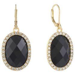 Gloria Vanderbilt Black Rhinestone Oval Drop Earrings