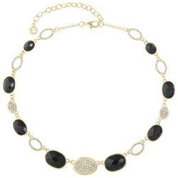 Gloria Vanderbilt Gold Tone Jet Rhinestone Collar Necklace