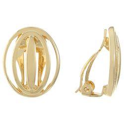 Gloria Vanderbilt Gold Tone Open Button Clip On Earrings