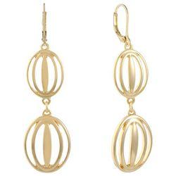 Gloria Vanderbilt Gold Tone Open Double Oval Earrings