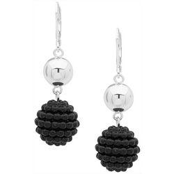 Gloria Vanderbilt Seed Bead Double Ball Drop Earrings