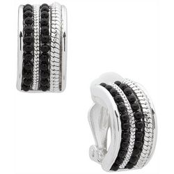 Gloria Vanderbilt Black & Silver Tone Clip On Hoop Earrings