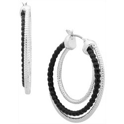 Gloria Vanderbilt Triple Row Click It Hoop Earrings