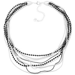 Gloria Vanderbilt Black Beads & Silver Tone Chains Necklace