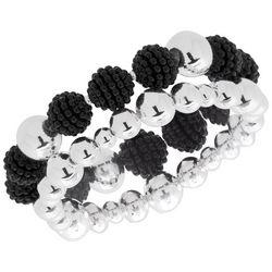 Gloria Vanderbilt Black & Silver Tone Beaded Bracelet Set