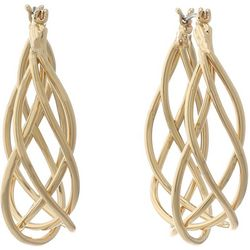 Gloria Vanderbilt Gold Tone Braided Hoop Earrings