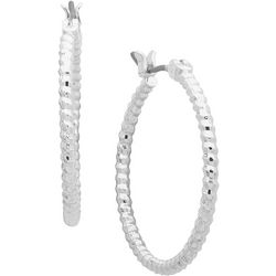 Gloria Vanderbilt 22mm Textured Hoop Earrings