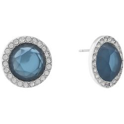 Gloria Vanderbilt Blue Halo Button Earrings
