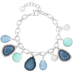 Gloria Vanderbilt Blue Stone Charms Silver Tone Bracelet