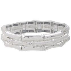 Gloria Vanderbilt Silver Tone Three Row Stretch Bracelet