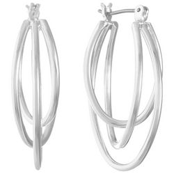 Gloria Vanderbilt Silver Tone Three Row Hoop Earrings