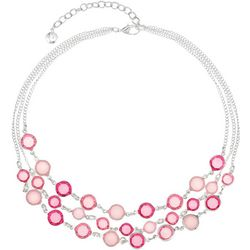 Gloria Vanderbilt 3 Row Pink Channel Bead Necklace