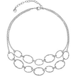 Gloria Vanderbilt 2 Row Silver Tone Oval Necklace