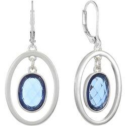 Gloria Vanderbilt Blue & Silver Tone Oval Drop Earrings
