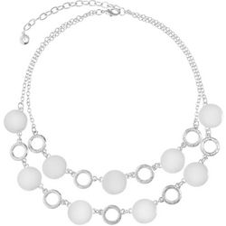 Gloria Vanderbilt Black Enamel Disc & Ring Necklace