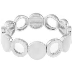 Gloria Vanderbilt Black Enamel Disc Stretch Bracelet