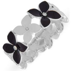 Gloria Vanderbilt Black & White Flower Bracelet