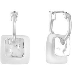 Gloria Vanderbilt White Square Drop Hoop Earrings
