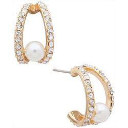You're Invited Gold Tone Faux Pearl Hoop Earrings