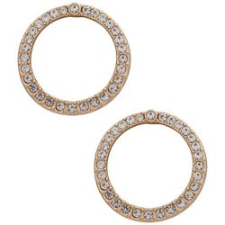You're Invited Gold Tone Rhinestone Circle Earrings