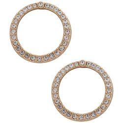 You're Invited Gold Tone Rhinestone Circle Earring