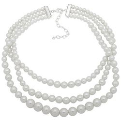 You're Invited 3 Row Faux Pearl Collar Necklace