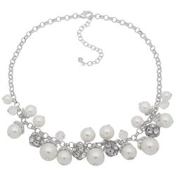 You're Invited Faux Pearl & Pave Rhinestone Beaded Necklace