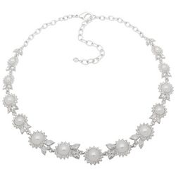 You're Invited Faux Pearl Flower Link Collar Necklace