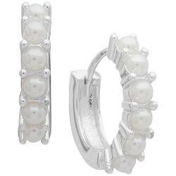 You're Invited 15mm Faux Pearl Huggie Hoop Earrings