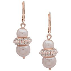 You're Invited Rose Gold Tone & Faux Pearl Earrings