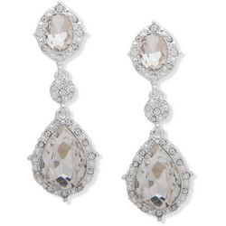 You're Invited Silver Tone Rhinestones Small Drop Earrings