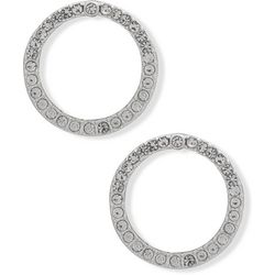 You're Invited Silver Tone Rhinestone Circle Earrings