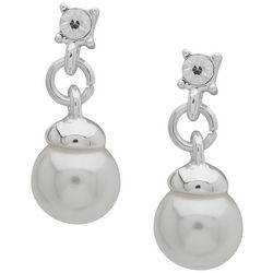 You're Invited White Faux Pearl Post Drop Earrings